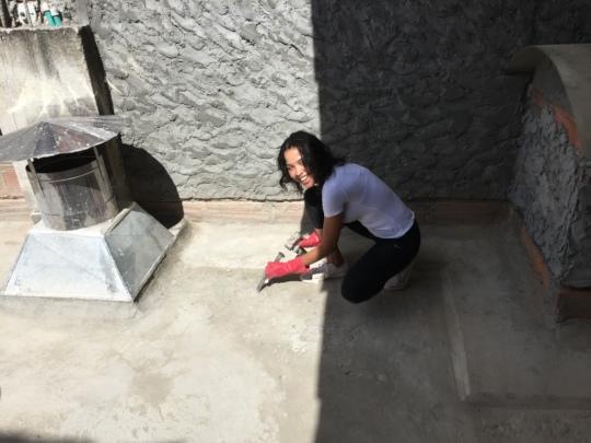 Karen prepping the roof floor