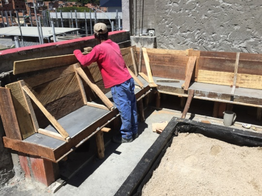 Prepping the concrete benches