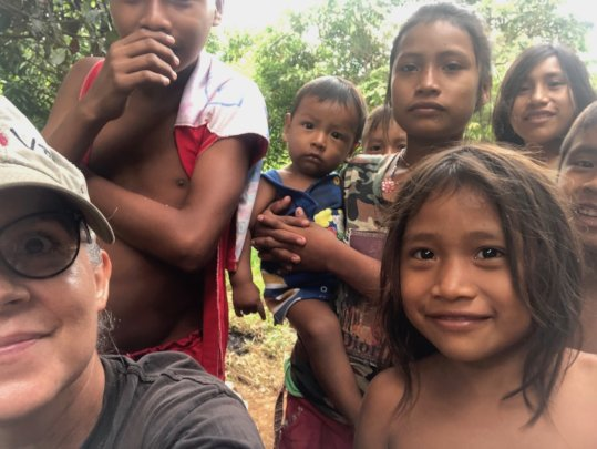 Playing with indigenous children during our visit