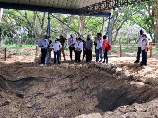 Explaining future plans to continue excavating