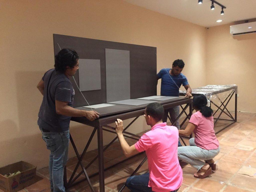 Installing exhibit display panels