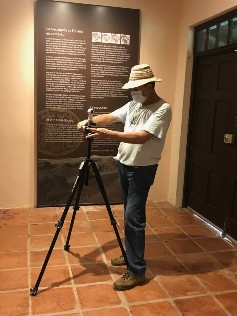Carlos Mayo taking 360 photo inside museum
