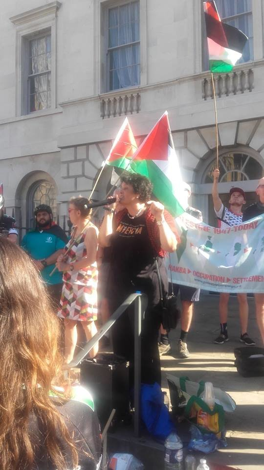 Dr. Mona El-Farra from MECA speaks at London rally