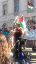 Dr. Mona El-Farra from MECA speaks at London rally