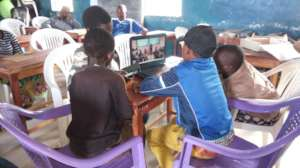 Std. 8 pupils accessing learning materials