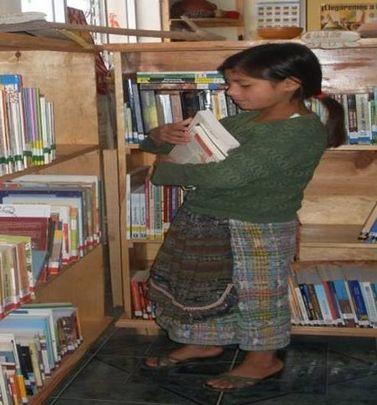 Rosa cataloging books in Xolsacmalja