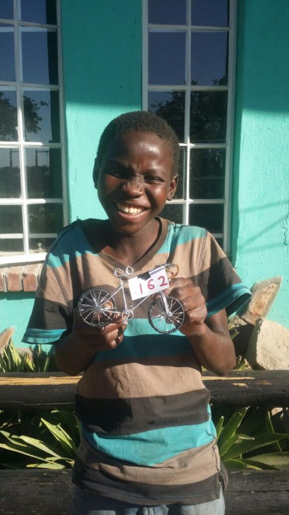 Andile created his first wire bicycle