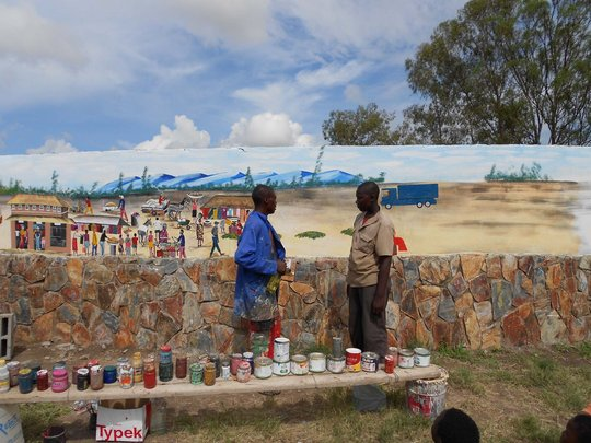 Shaka Ndlovu teaching Elder Sanele wall art