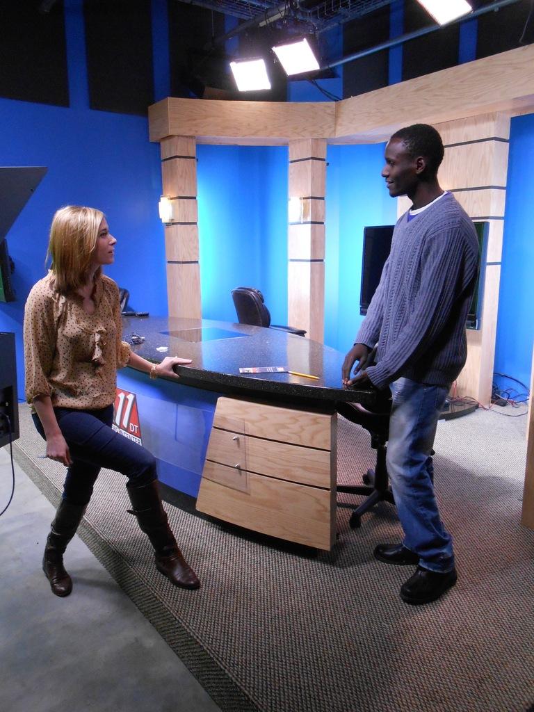 Preparing for TV interview about ZImkids in Alaska