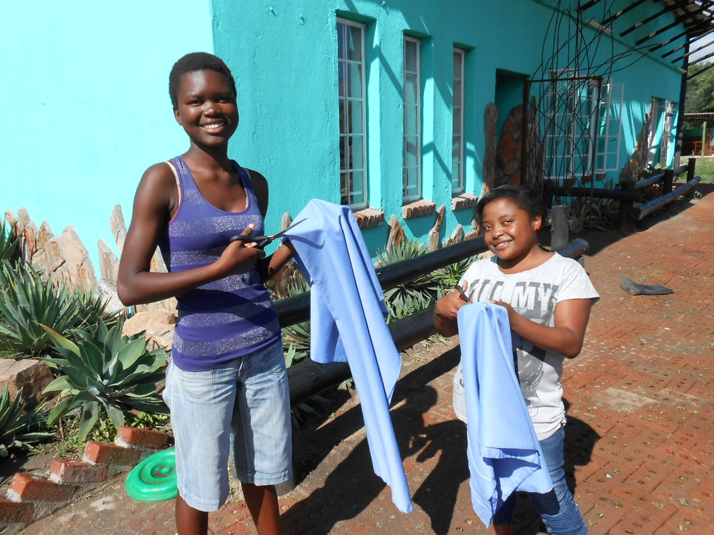 Charity and Lindiwe are ready for sewing class!