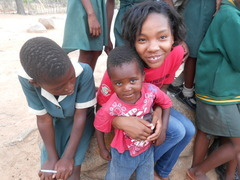 Samantha on day off works with our newest Zimkids