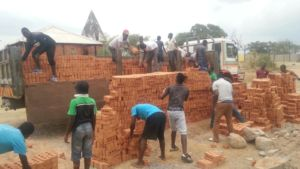 Unloading the bricks for foundation