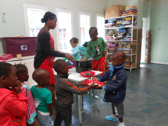 Our pre-schoolers learn to serve  breakfast