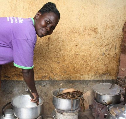 Women are encouraged to use cookstoves for cooking