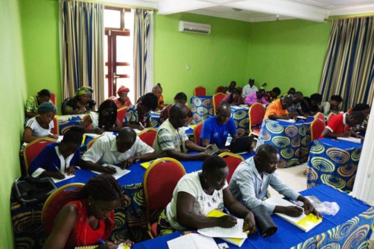 Community health workers learning about Ebola
