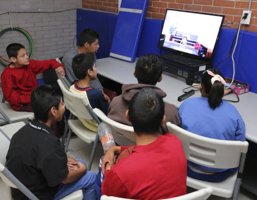 Kids learning from video conference