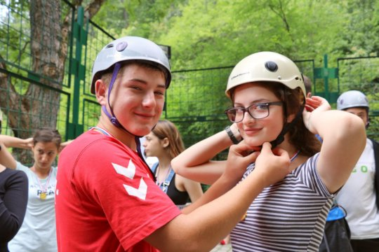 Campers getting ready to climb the alpine wall!