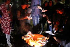 Making campfire banana boats