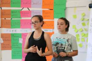 Campers presenting their community ideas