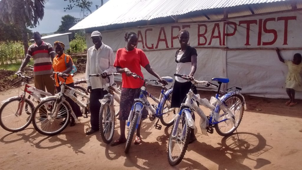 Community Based Rehab Workers receiving bikes