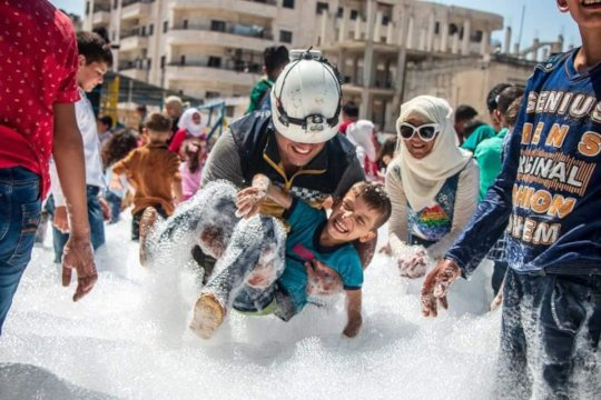 White Helmets Training at a Kid Friendly Zone