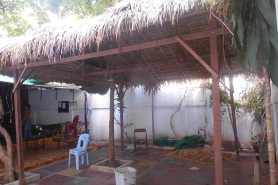 """New thatch canopy to cover """"guest"""" seating area"""
