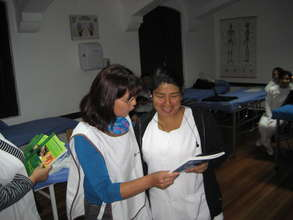 Teacher Josefina with new nursing books