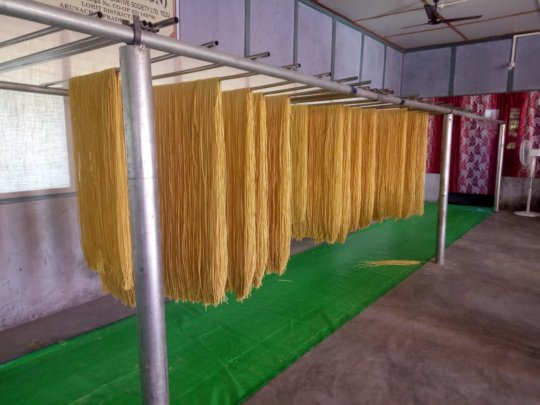 Noodles hanging to dry
