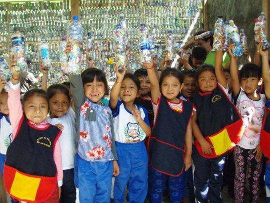 Kids with Eco-Bricks