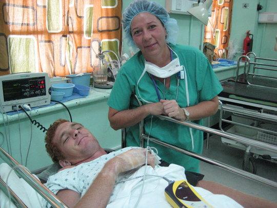 IHC nurse Toni Napoli with Aaron following surgery