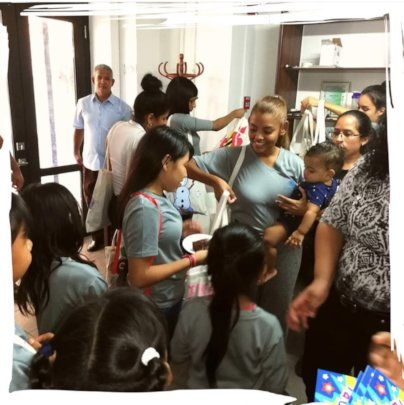 1st day- The Girls Being Received by our Students