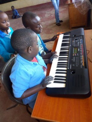 The new keyboard is very popular in the music room