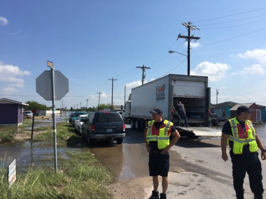 Setting up a distribution in Mercedes, TX.
