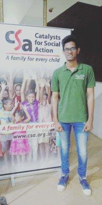 Lucky at a CSA donor meet sharing his life story