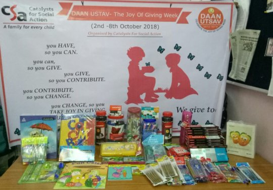 Stationery collected for CCI children