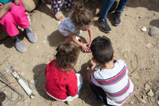 Children playing at the shelter for migrants