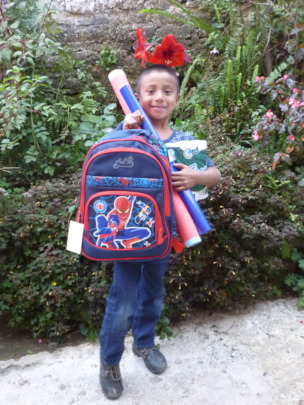 Ismael with His School Supplies