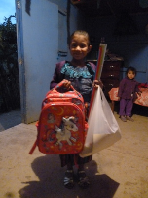 Yesica with Her School Supplies