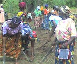 Women work to clear ground.