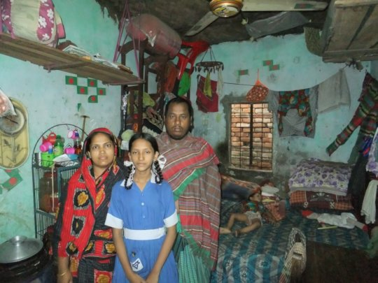 Jannatul with her family in their humble home