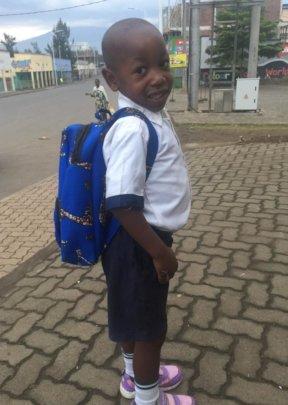 Akim going to school