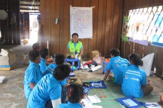 Volunteers help to educate on nutrition and WASH