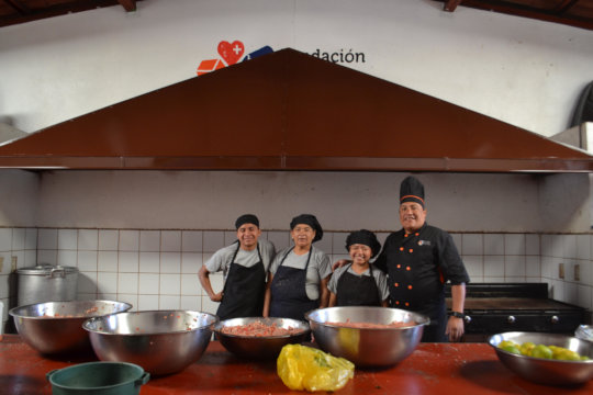 Our Kitchen Staff with Our New Hood!