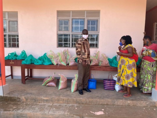 Distributing Bean Seeds from Our School