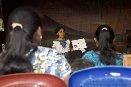 Vilma gives a presentation about menstruation