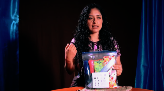Vilma advertises the reusable cloth menstrual pads