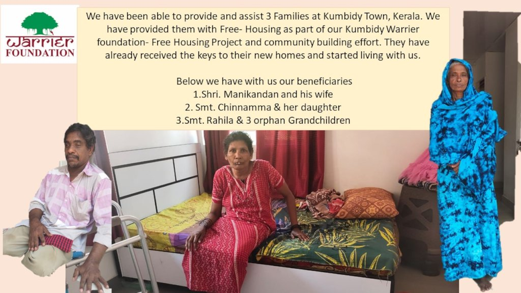 KUMBIDY, KERALA-HOUSES TO 3 FAMILIES HANDED OVER !