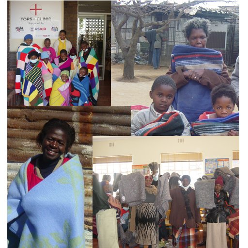 Collage of beneficiaries receiving blankets