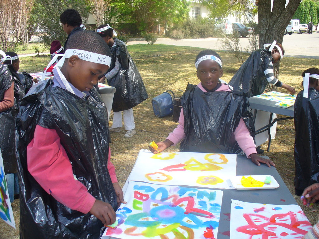 Children enjoying the painting activity