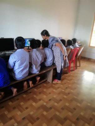 Computer classes in an affected school